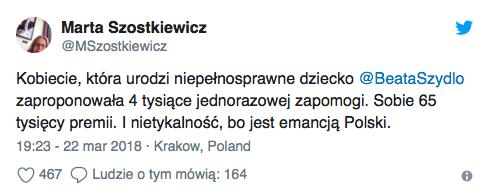 Beata Szydło - premia a pomoc rodzicom chorych dzieci