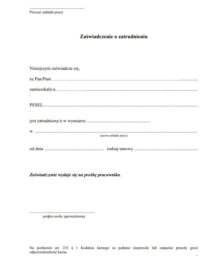 Zaświadczenie O Zatrudnieniu I Zarobkach Wzór Umowa Zlecenie Doc