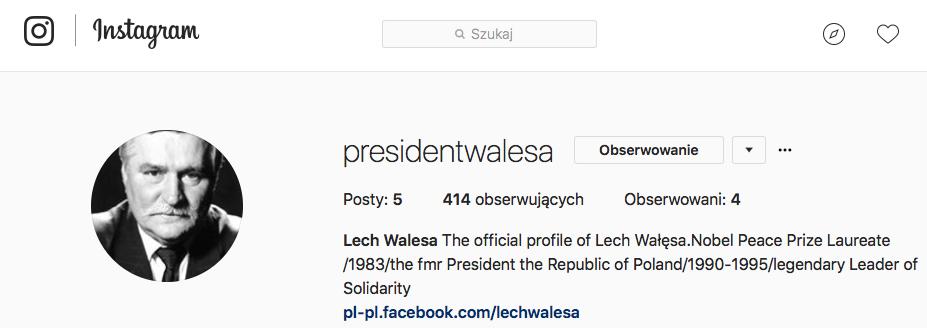 Lech Wałęsa Instagram