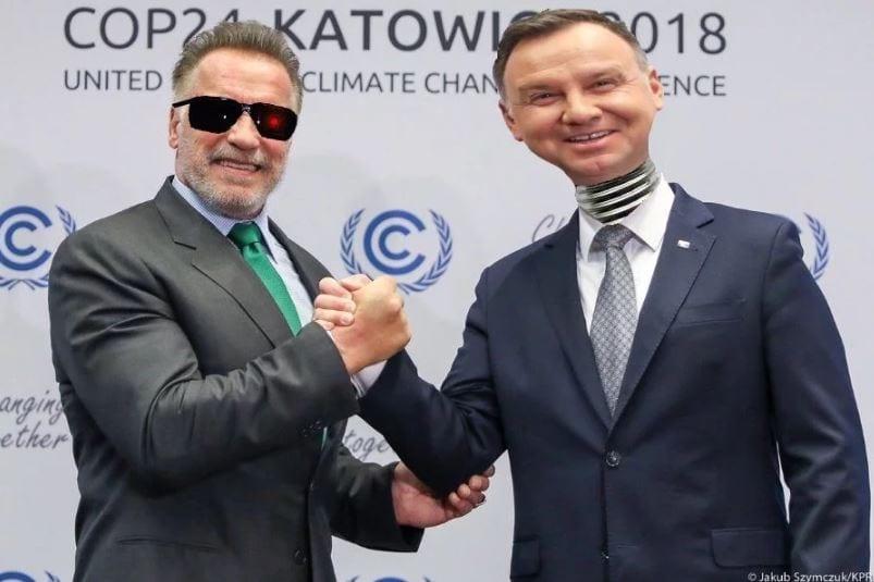Andrzeja Dudy z Arnoldem Schwarzeneggerem