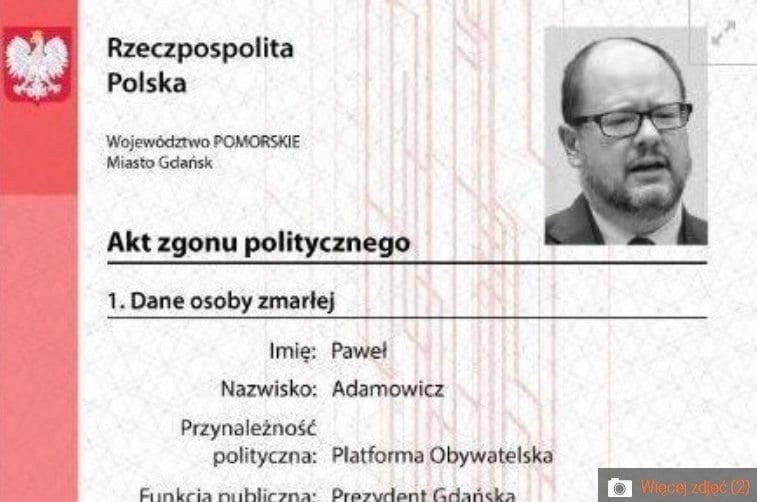 """Młodzież Wszechpolska wystawiła """"akt zgonu"""" Adamowicza. Prokuratura Ziobry uznała, że nie ma problemu"""