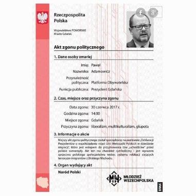 Akt zgonu Pawła Adamowicza