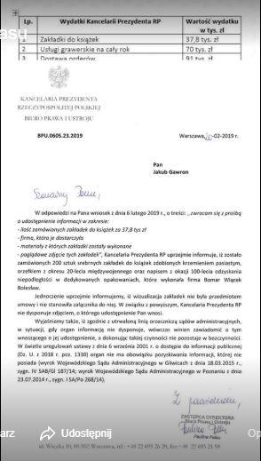 Kancelaria Andrzeja Dudy zamówiła zakładki do książek. Wydała na nie 40 tysięcy złotych