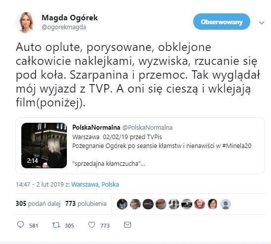 Magdalena Ogórek zaatakowana