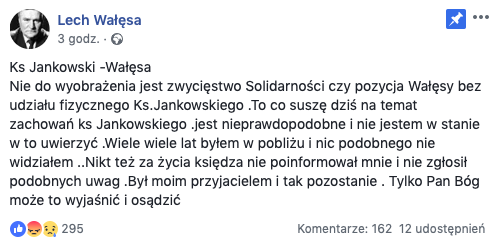 Facebook/Lech Wałęsa