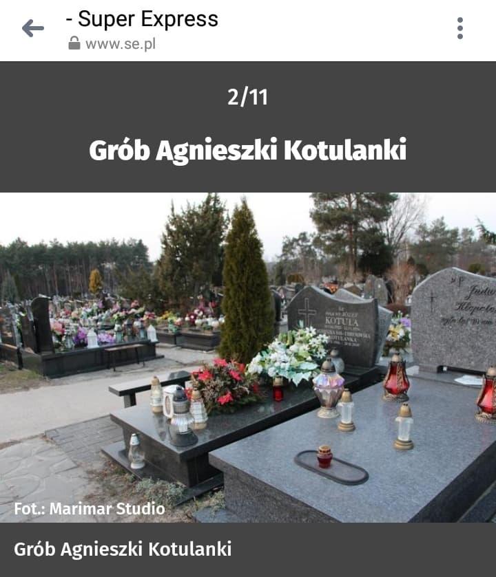 Grób Agnieszki Kotulanki, fot. screen shot Super Express