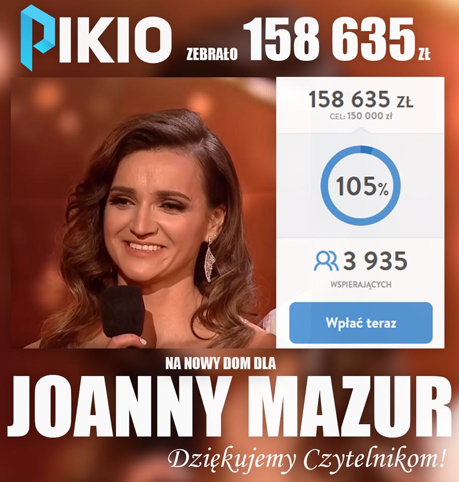 Joanna Mazur dostanie 150 000 złotych. Portal Pikio kończy akcję