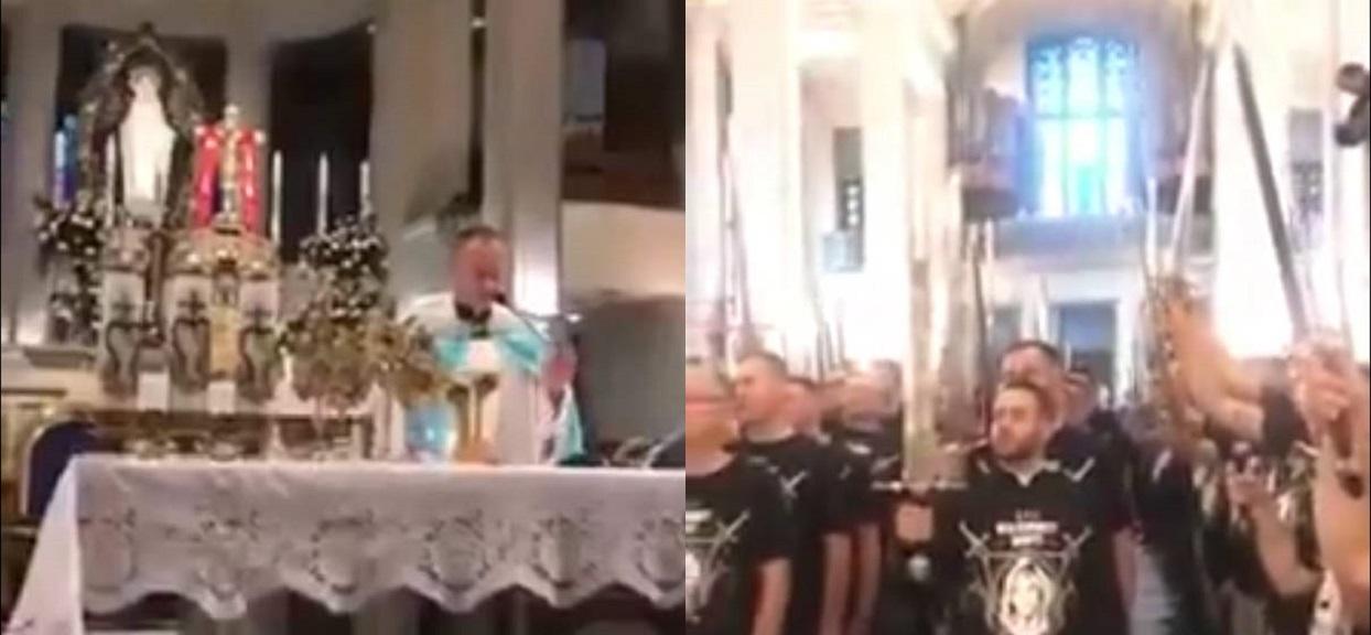 Niepokalanów: Grupa mężczyzn z mieczami w kościele. Zapowiadają walkę z grzechem
