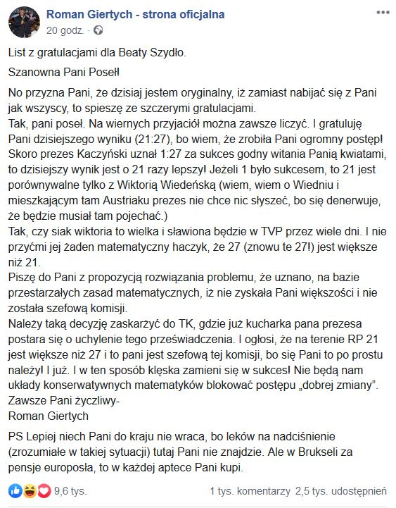 screen facebook.com/Roman Giertych - strona oficjalna