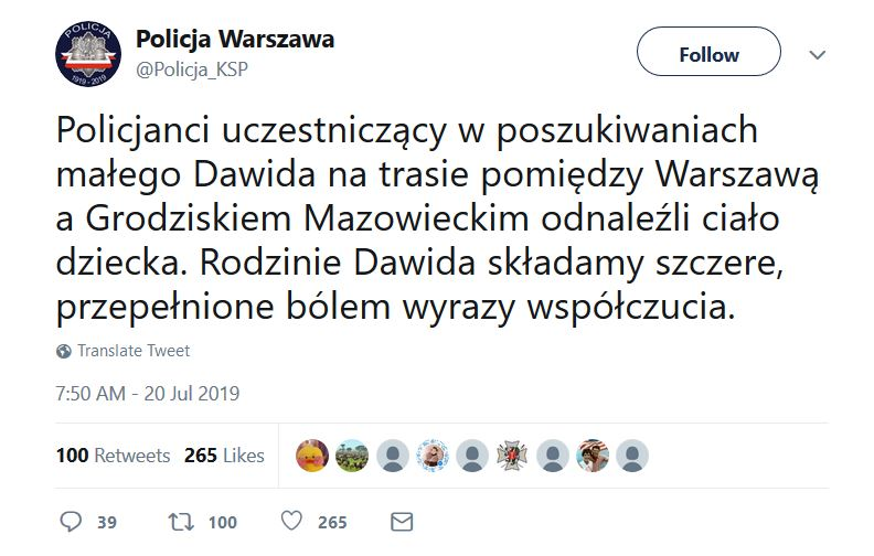 Dawid screen twitter.com/Warszawska Policja
