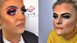 12 kobiet, które oszpeciły się makijażem. Wyglądają jak karykatury, 8 zdjęcie to przesada