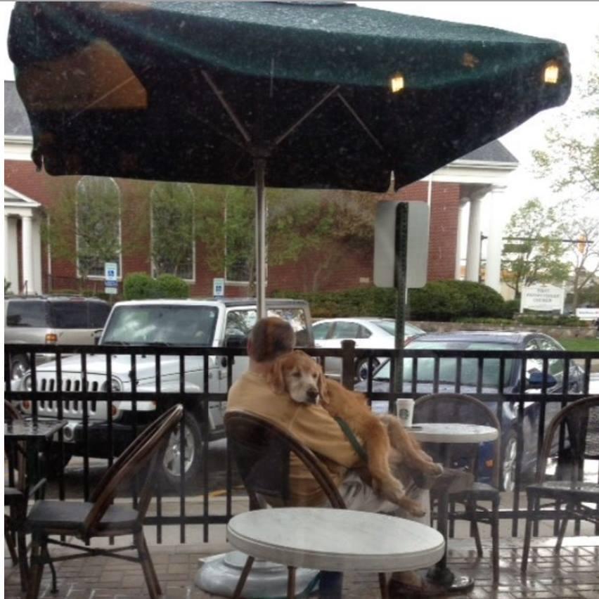 Zdjęcie psa w objęciach mężczyzny obiegło cały świat. Kryje się za nim miażdżąca serce scena