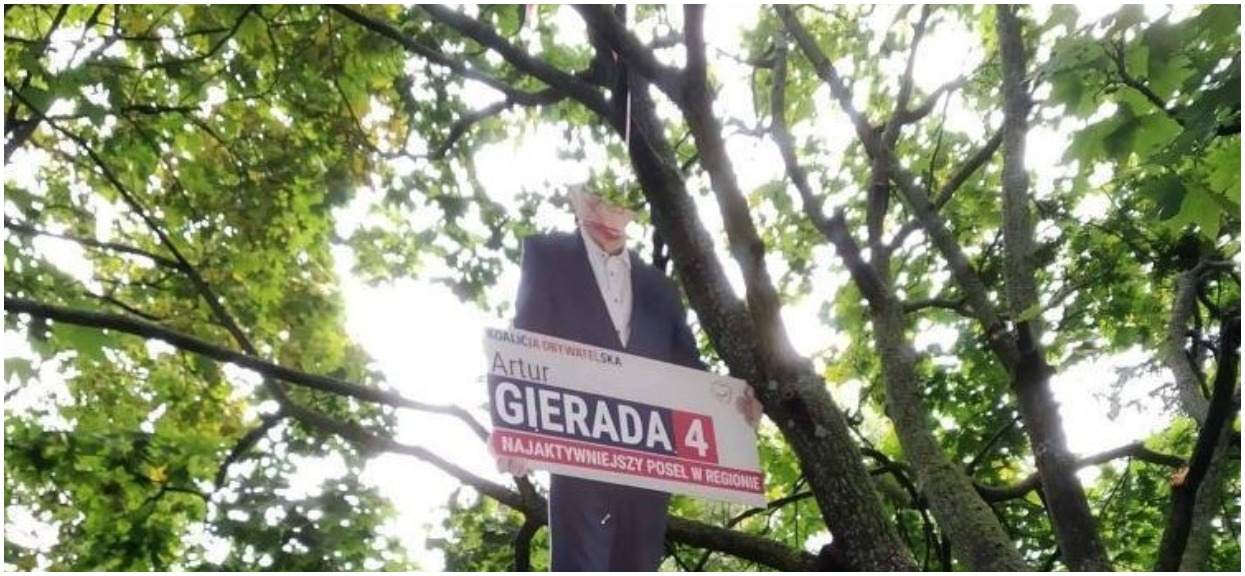 Skandal przed wyborami. Baner posła KO zawisł na szubienicy, poprzednim odcinano głowy
