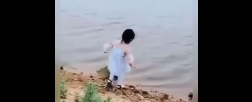 Pies odkrył co dziewczynka zobaczyła nad taflą wody. Szybko ocenił sytuację i rzucił się na pomoc
