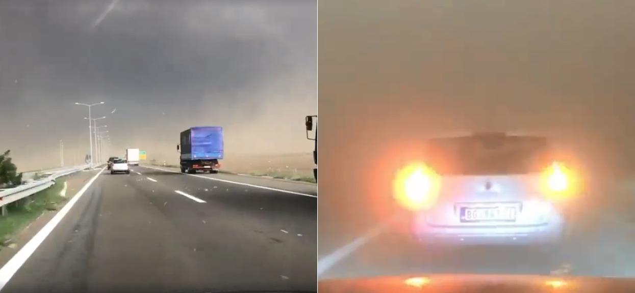 Kierowca wjechał w sam środek anomalii pogodowych