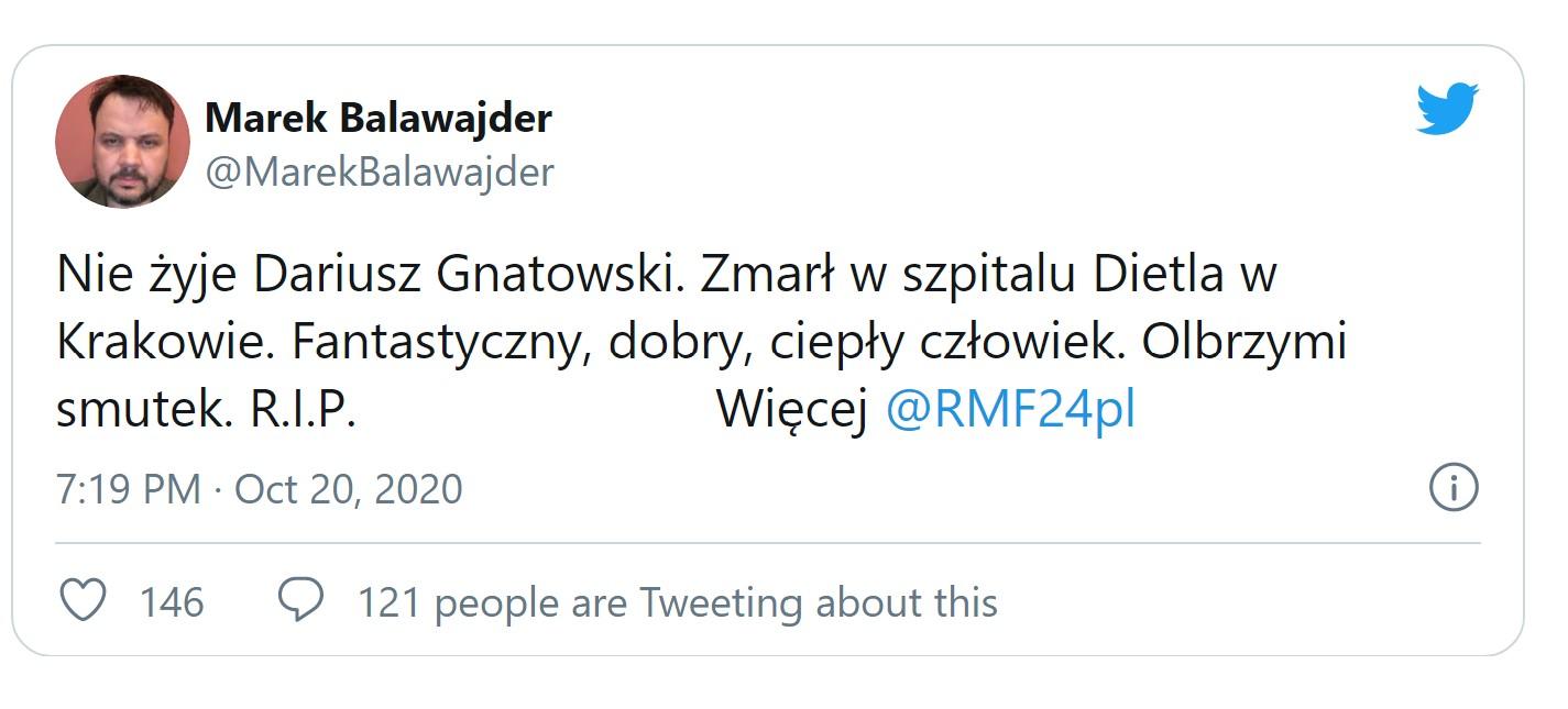 Nie żyje Dariusz Gnatowski