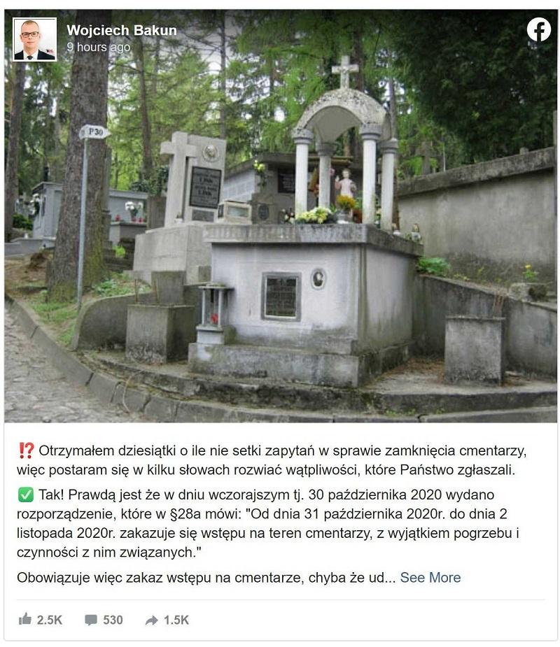 cmentarze otwarte prezydent miasta
