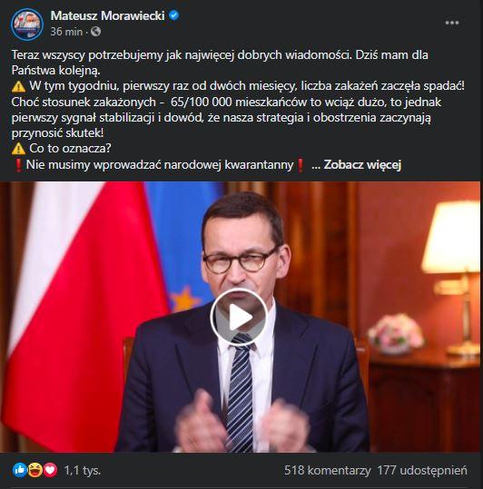 Mateusz Morawiecki o lockdownie