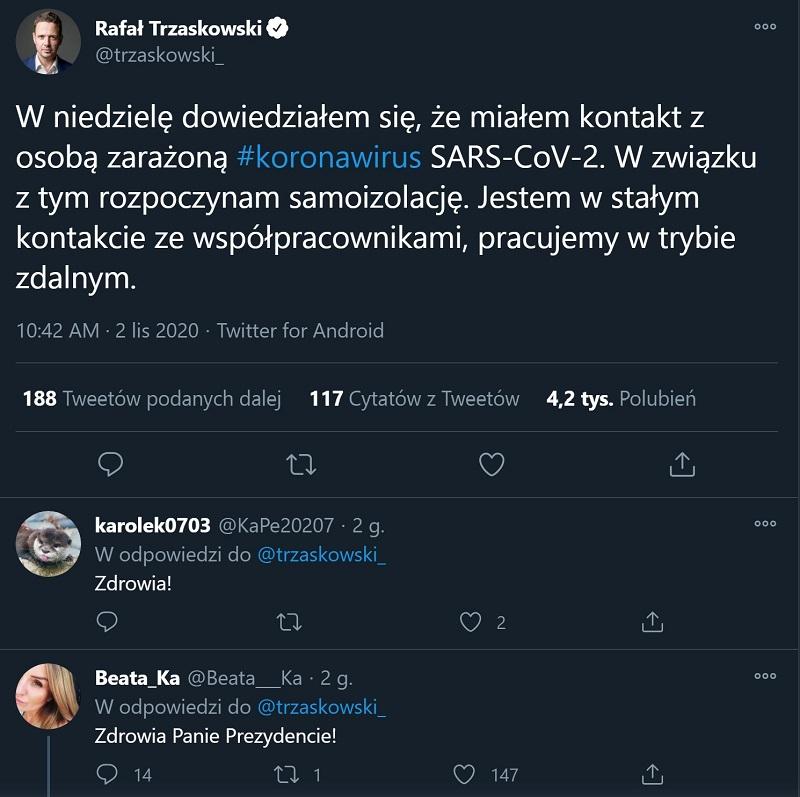Rafał Trzaskowski wiadomość