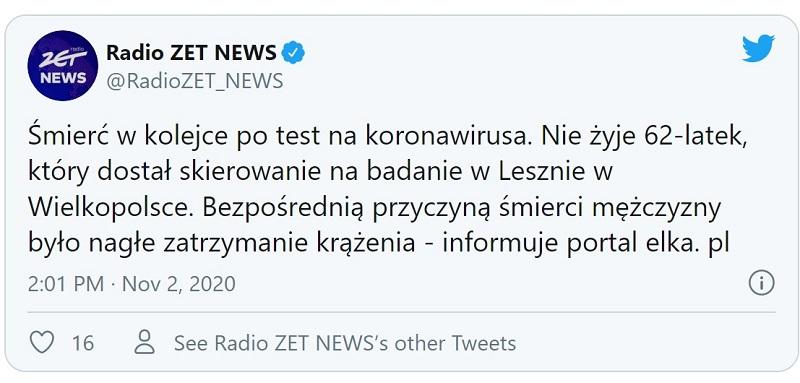 Test na koronawirusa mężczyzna zmarł kolejka