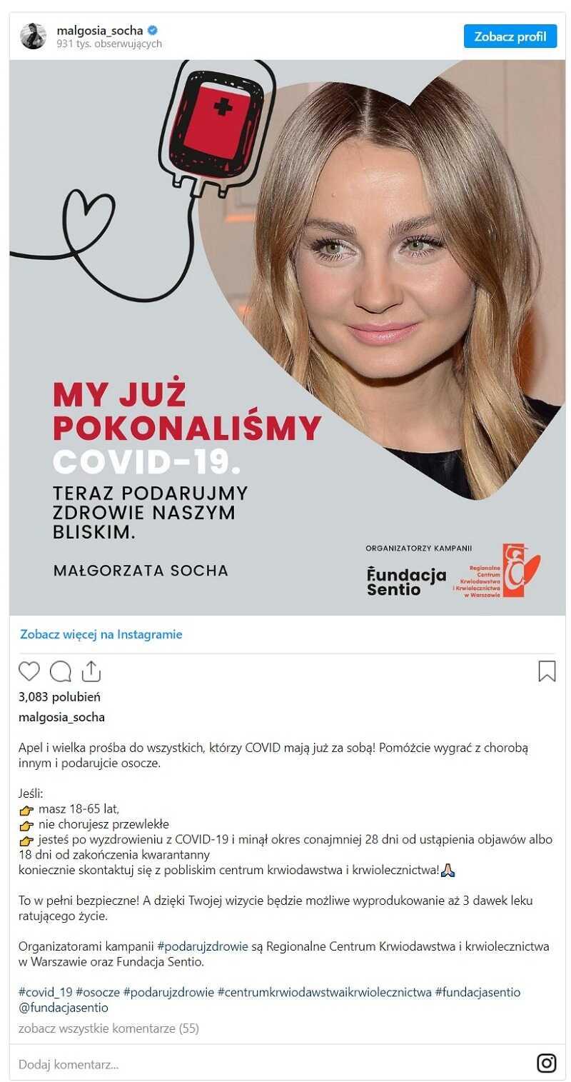 Małgorzata Socha apel