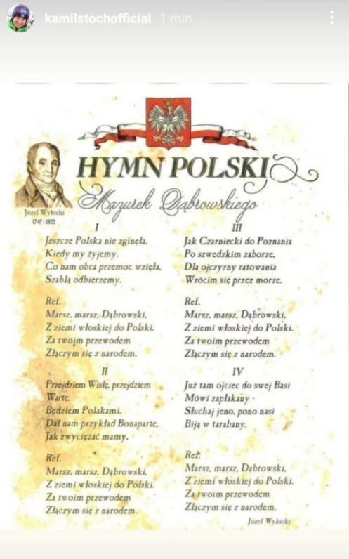 Kamil Stoch skomentował wpadkę z hymnem