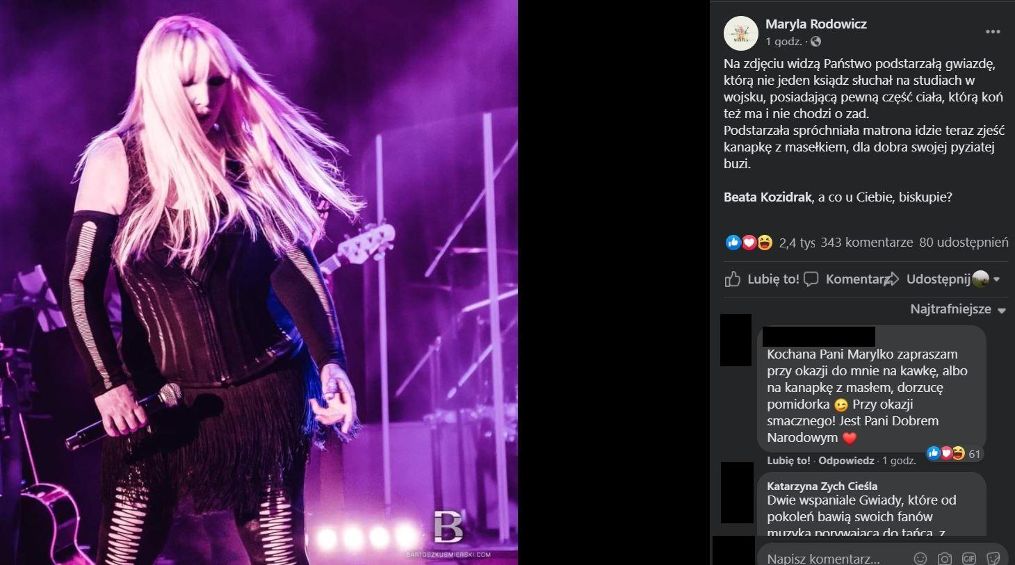 Maryla Rodowicz skomentowała słowa księdza na swoim Facebooku