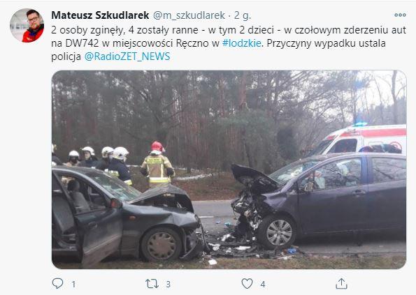 Policja poinformowała o wypadku