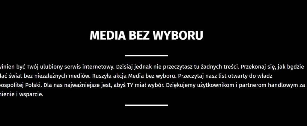 Nie działa telewizja, radio nie nadaje, stanęły serwisy internetowe. Protest mediów. Chodzi o nowy podatek