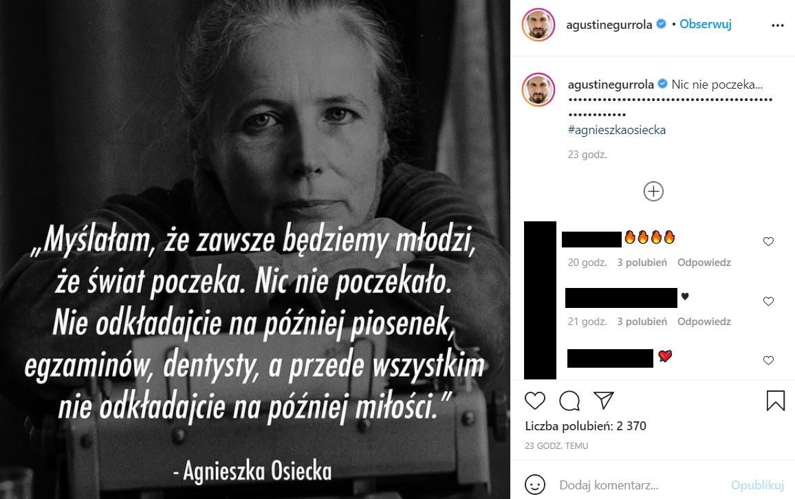 Agustin Egurrola opublikował poruszający wpis na Instagramie