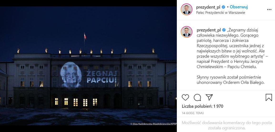 Andrzej Duda pożegnał Henryka Chmielewskiego