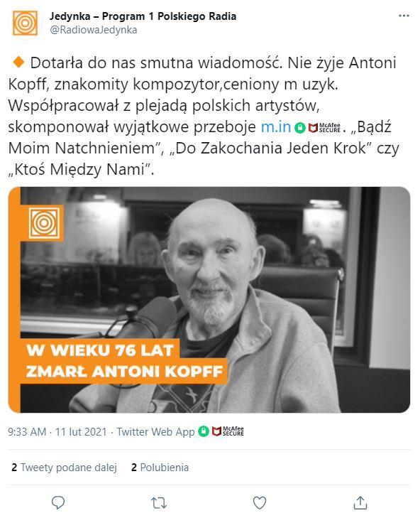Antoni Kopff nie żyje