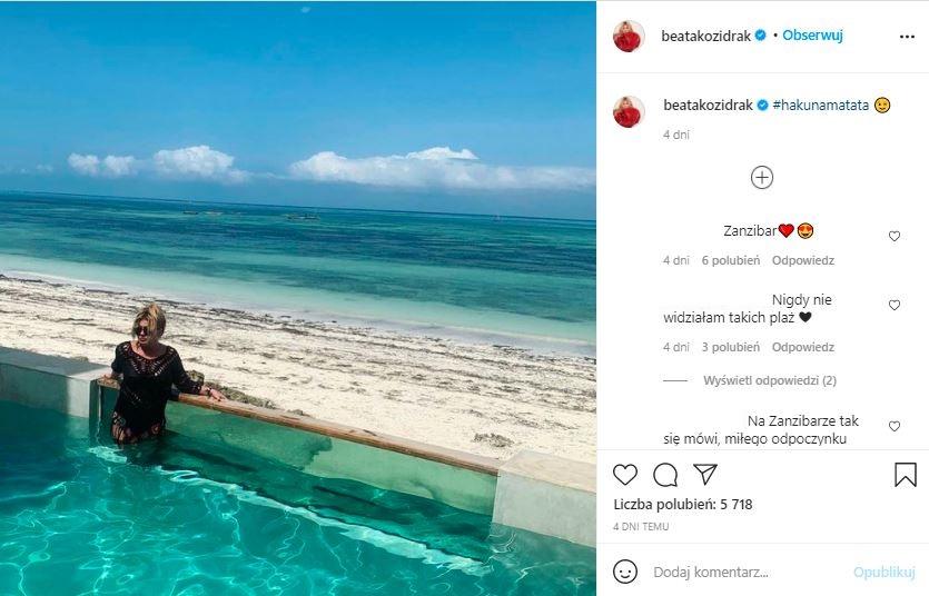 Beata Kozidrak wypoczywa na Zanzibarze