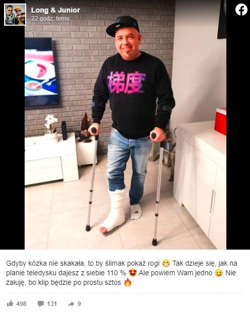 Gwiazdor disco-polo złamał nogę podczas kręcenia teledysku