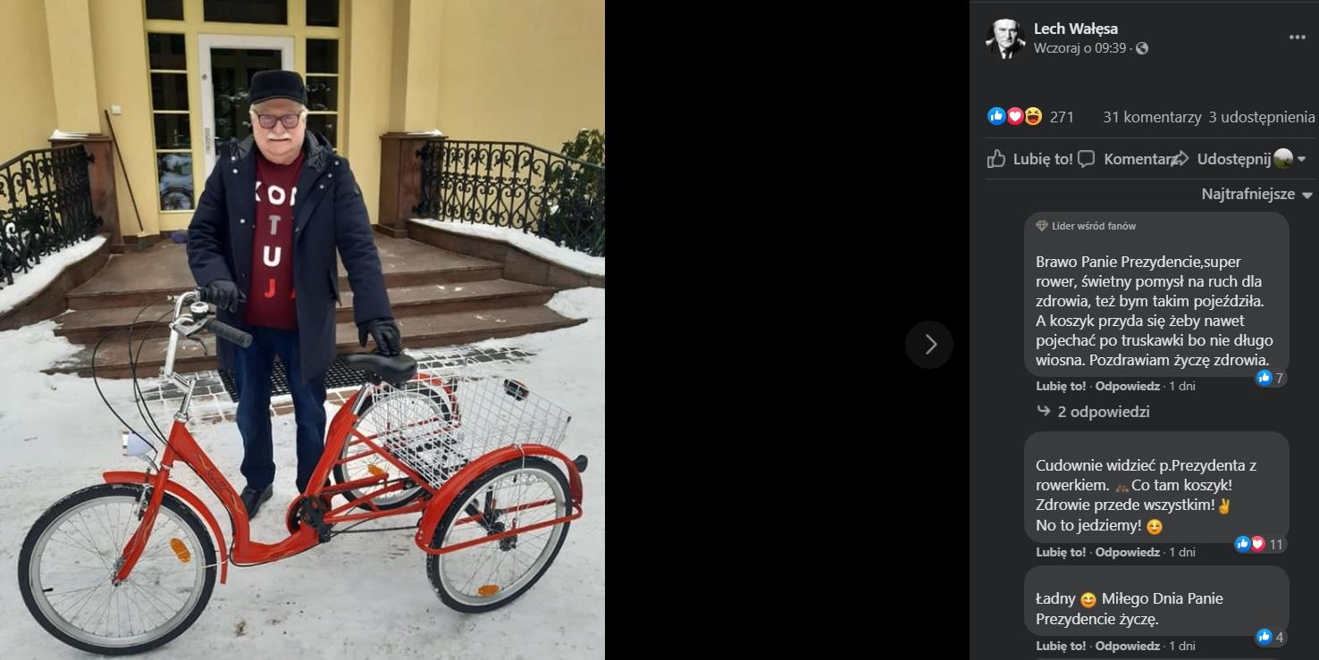 Lech Wałęsa ma nowy rower