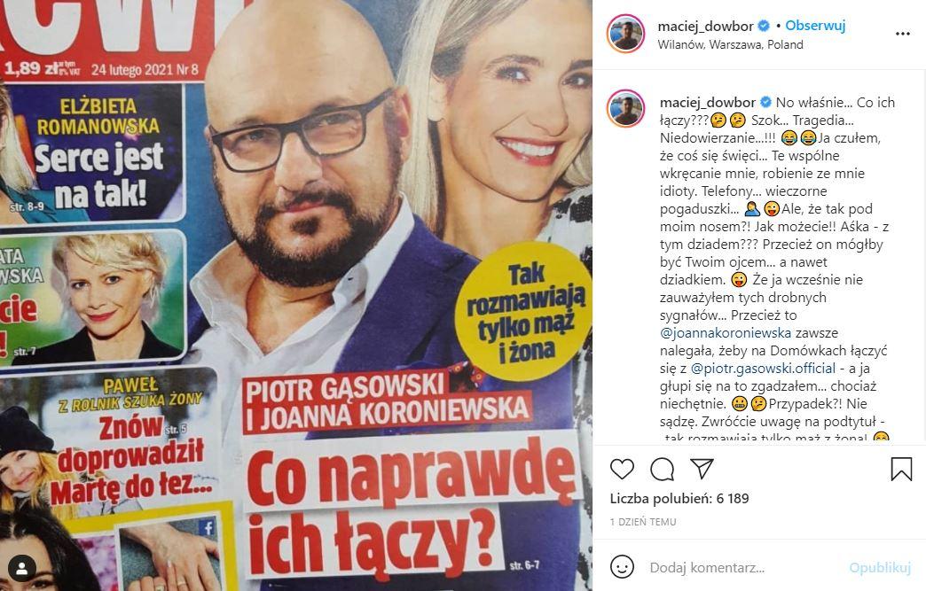 Maciej Dowbor skomentował doniesienia o romansie swojej żony