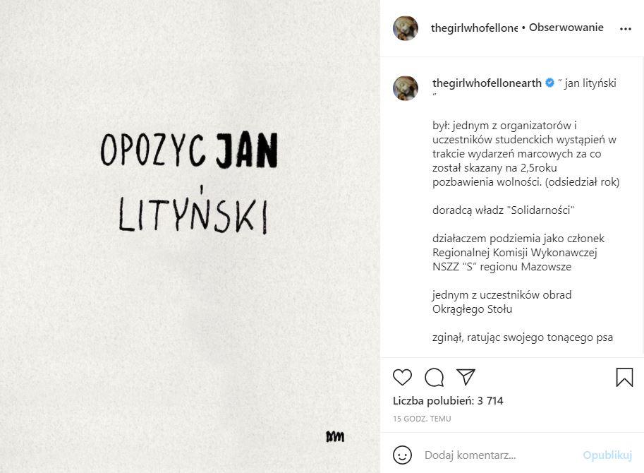Matylda Damięcka uczciła pamięć Jana Lityńskiego
