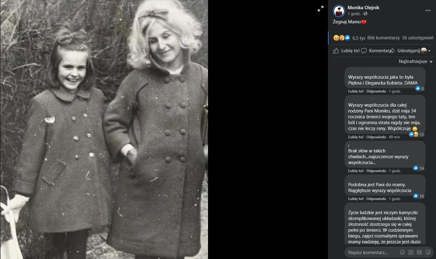 Monika Olejnik pożegnała swoją mamę