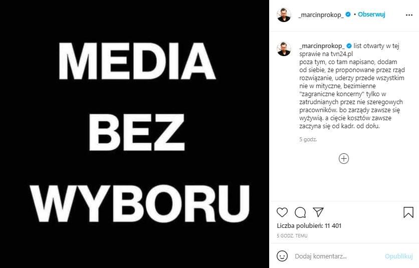 Marcin Prokop przekazał wiadomość