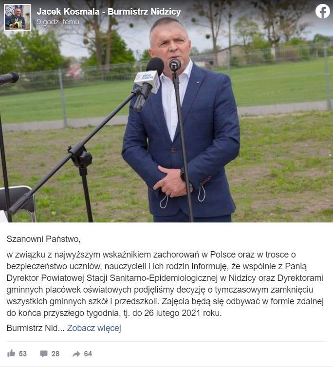 Nidzica - burmistrz poinformował o zamknięciu szkół i przedszkoli
