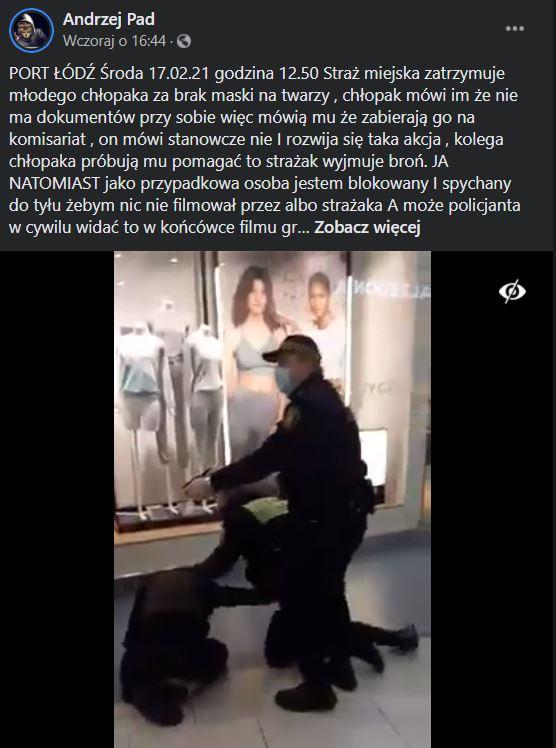 Straż miejska w Łodzi zatrzymała młodego mężczyznę w galerii handlowej