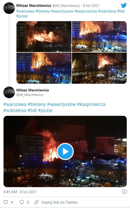 Twitter/ pożar w Lidlu