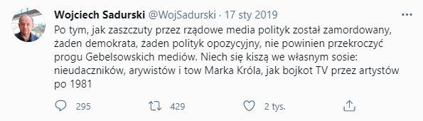 Jacek Kurski o zabójcy Adamowicza