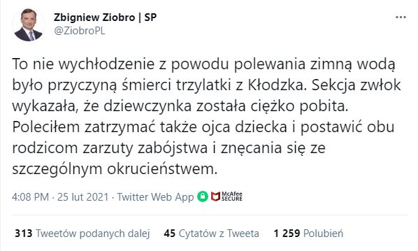 Zbigniew Ziobro zabrał głos w sprawie śmierci 3-letniej Hani z Kłodzka