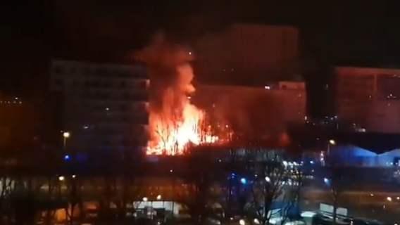 Pożar w Lidlu w Warszawie