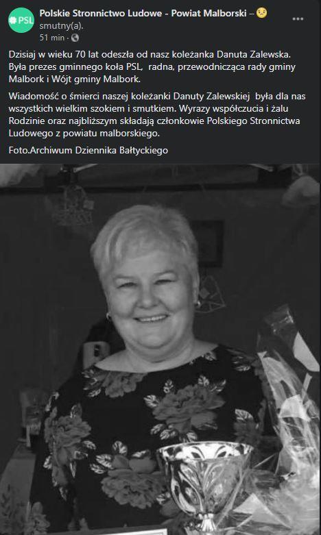 Danuta Zalewska nie żyje