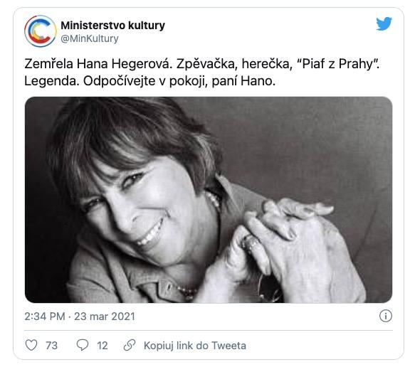 Hana Hegerova nie żyje