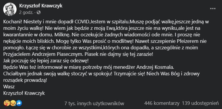 Krzysztof Krawczyk trafił do szpitala