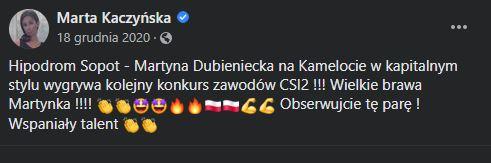 Marta Kaczyńska gratuluje córce