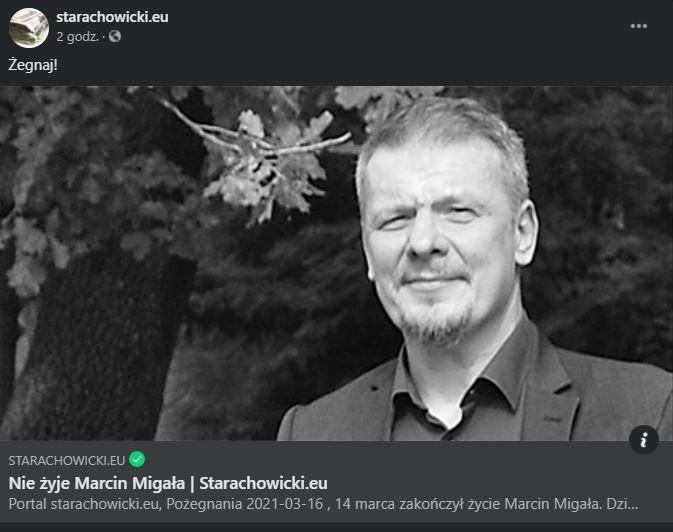 Nie żyje Marcin Migała